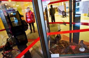 Många besökare går flera varv i lasarettets svängdörrar för att få en ordentlig titt på den utställda slöjden.Foto: Ulrika Andersson