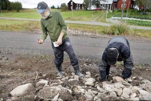 Kaj på Höjda bor på gården Tevallen i Lorås alldeles intill fyndplatsen och här får han hjälp av grannen Sven-Erik Svensson, Ängesgården, med att undersöka fyndplatsen.