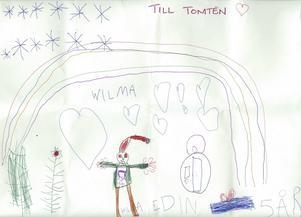 Wilma 5år från Tierp har ritat en fin teckning med en tomte och en regnbåge till Tomten. God Jul!