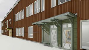 Illustration över hur entréerna kan komma att utformas på den nya grundskolan.