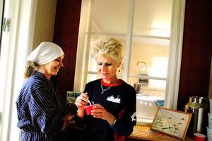 Ann-Margret Honkasalo bjuder Anna-Maria Corazza Bildt på egentillverkad gräddglass från gårdsmejeriet.