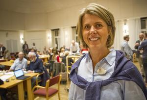 Jenny Alvolin, strateg för social hållbarhet, vid Hudiksvalls kommun styrde upp mötet och grupperna.