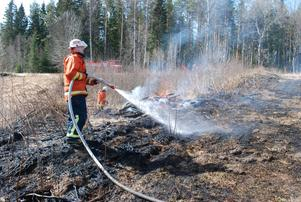 Räddningstjänsten i Lindesberg var på tisdagen ute på sin första gräsbrand för året.