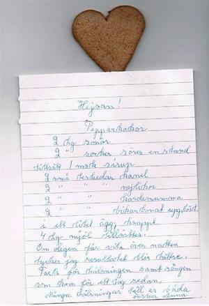Det kom ett brev från Anna Karlsson, 95 år, med pepparkaksreceptet som försvunnit från mina jular.