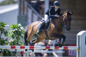 ingemar Hammarström och Ocean des As visar fin form under EM. Bilden är tagen i samband med att de vann Grand Prix för ponnyer i Falsterbo i början av juli.