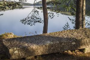 Albert Vikstens minnessten står vid vattnet på Ängratörn. På den står