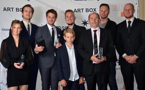 Ett urval av årets pristagare (fr. vänster): Matilda Tjerneld, David Billström, Marcus Holmqvist, André Persson-Gintner, teamfotograf, Robin Brolin, Roland Persson och Andreas Gejke.