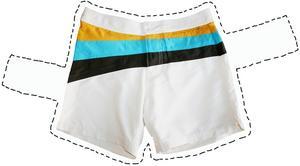 Vita badshorts med färgglada ränder, 149 kr från H&M.