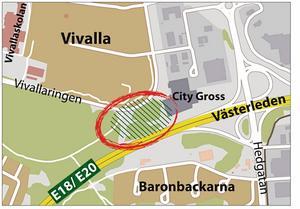 Planerad plats. Här i Vivalla planeras den nya hallen för inomhusfotboll att byggas av Öbo. Arkivskiss: Riad Al Khiat