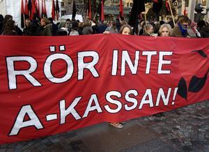 demonstration för a-kassan.