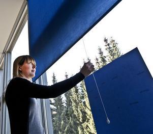 """Spännare kallar Sanna Marander sin blå rullgardin. Spännaren är inspirerad av Agnes von Krusenstjernas roman """"Den blå rullgardinen"""" från 1930. En blå rullgardin kommer under utställningsperioden att sättas upp i Krusenstjernahuset på Engelbrektsgatan 2."""
