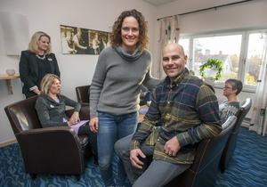 Erika ochMartin Hansson berättade om sitt företagande inom skidbranschen på fredagensföretagarfrukost. Deras mål har alltid varit att bli bäst.
