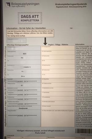 9590 kronor kostar det att rätta adressuppgifter och skruva under det här formuläret.