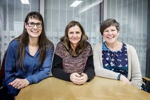 Henna Forsberg, Anna-Karin Lundkvist och teamchefen Jane Parment jobbar på Familjehemsteamet i Östersunds kommun. De berättar att köerna för kontaktfamilj och kontaktpersoner är långa.