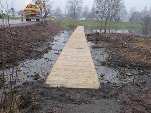 Bilden är från 2014 då vattenståndet sänktes för att kunna byta ut de då murkna spångarna vid Tjärnasjön. Foto: Roland Engvall.
