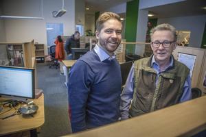 Malte Frisk (till vänster) och Bengt-Olov Byström hos Logosol har bara positiva erfarenheter om samarbetet mellan tillverkningsföretagen i Ådalen