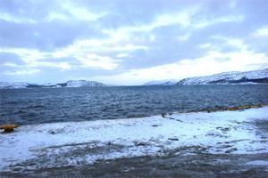 Barents hav inbjuder inte till bad just idag. En ledig heldag sedan söderut igen.