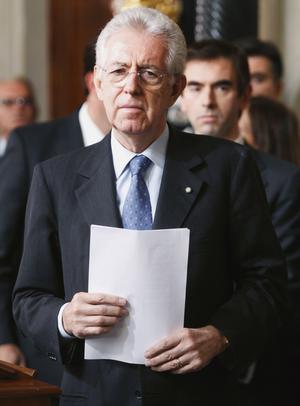 Teknokrat styr. Den tidigare EU-kommissionären Mario Monti blir både premiärminister och finansminister i den nya italienska regeringen, som inte innehåller några politiker.foto: scanpix