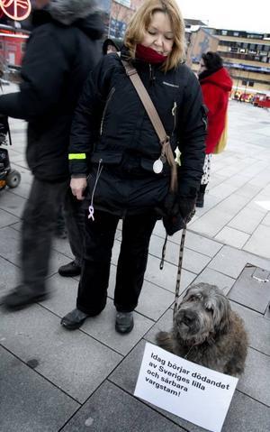 Protesterar mot vargjakt. Lena Backeskog och hunden Mina, en Gosdatura Catala, deltar i manifestationen.