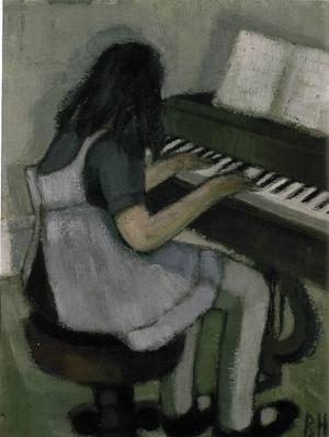 Birgitta spelar. Olja, 1940-tal.