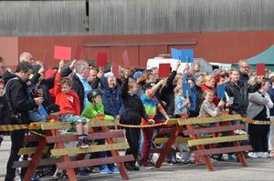 Publiken fick rösta genom att hålla upp röd eller blå träspadar, beroende på vilken av bilarna de tyckte var finast.
