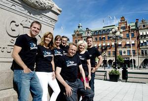 Anders och Katarina Lövgren tillsammans med Pernilla  Wedin, Leif Johansson, Hans Bark,  Lillemor Larsson och Nicklas Sångberg.