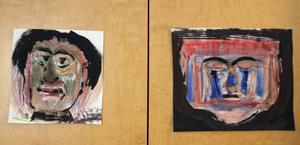 Porträtt i krita och akvarell.