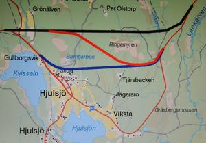 Ny sträckning för riksväg 63. Som ska gå norr om Hjulsjö by. Tre alternativ utreds i Trafikverkets vägplan. Alternativ Norr (svart linje), alternativ Mitt (röd linje) och alternativ Söder (blå linje). Den södra (blå) kommer troligen dock att prioriteras bort i ett tidigt skede, enligt Vägverket.