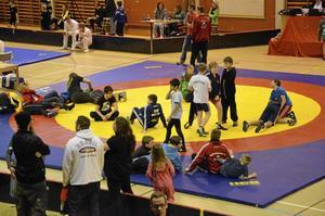 Många av brottarna höll sig på mattan så fort det inte var match. Bild: JAN WIJK