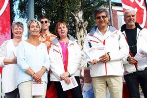 Maj-Lis Larsson, kandidat till ordförande för samhällsbyggnadsnämnden, Anna-Lena Andersson, socialnämnden, Lars-Gunnar Nordlander, miljö- och byggnämnden, Gunilla Zetterström Bäcke, kommunstyrelsen, Abbas Khanahmadi och Göran Påhlson deltog i pressträffen. Leif Nilsson och Gunilla Hedin, som kandiderar till ordförandeposten i bfk-nämnden respektive kommunfullmäktige, var inte på plats.