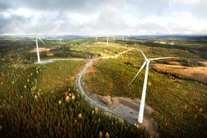 Vindkraftparken Stamåsen, där SSVAB ansöker om att få bygga 16 ytterligare verk  50 meter högre än tidigare planerat.