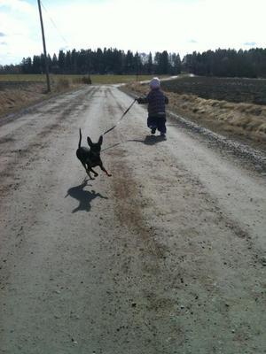 Min dotter Linn och hunden Jönsson har delade meningar om åt vilket håll man ska springa.