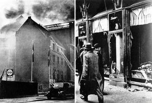 Kristallnatten den 10 november 1938. Bilden till vänster visar en synagoga i Berlin som brinner och till höger syns krossade butiksfönster i judiska affärer.