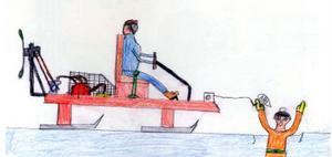 Olle Borin i Svensåsen var ett mekaniksnille som ständigt hade nya projekt på gång. Love Olander har ritat Olle på sin hydrokopter.