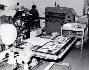 Klart för tryckning. Fram till 1981 gjordes TH i boktrycksformat,alltså åtta sidor. Fyra sidor trycktes på onsdagen och sedan vändes tidningsarket för att trycka fyra nya på torsdagen.