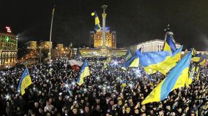 För EU. Människor demonstrerar på Självständighetstorget i Kiev. Arkivfoto:Dmitry Lovetsky/Scanpix