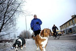 """LÄTT ATT NÅ ANSVARIGA. Anette Lindqvist tycker det mesta är bra i Skutskär. Det finns bra promenadstråk där hon kan gå med hundarna Wilma och Kickan. Däremot tycker hon att ansvariga skulle ha agerat tidigare mot den dåliga situationen på Rotskärsskolan. Hon tycker däremot att de är lätt att föra fram sina synpunkter. """"Det är bara att ringa till kommunkontoret"""", säger Anette Lindqvist."""