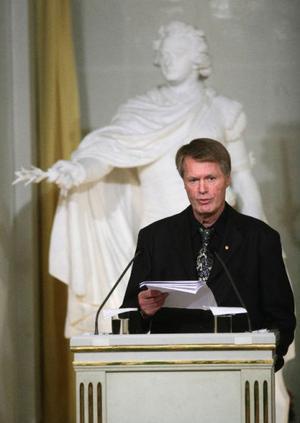 På söndagskvällen gav Jean-Marie Gustave Le Clézio sin Nobelföreläsning i Börssalen i Stockholm. Hela föreläsningen finns att läsa på www.svenskaakademien.se.Foto: Fredrik Persson/Scanpix