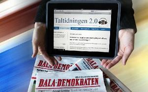 Med den nya taltidningen kan man lyssna på hela Dala-Demokraten – till exempel i sin läsplatta, smarta telefon, via e-post eller webben. Man kan välja att lyssna på de artiklar man är mest intresserad av. Foto: Staffan Björklund