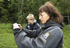 Handläggarna på länsstyrelsen, Bodil Carlsson, närmast kameran och Nini Nordlund dokumenterar spåren efter en misstänkt stöld av brunkulleplantor i Fugelsta.