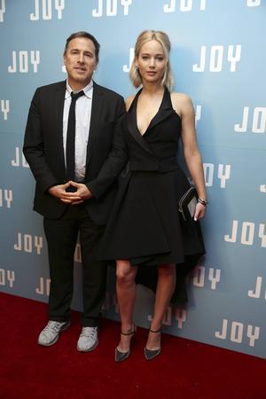 Jennifer Lawrence och regissören David O Russell inför Londonpremiären för