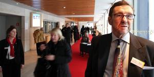 HÄLSADE VÄLKOMMEN. Christer Karlsson, ordförande i Gävle JazzClub, var nöjd med flytten från Folkets hus till konserthuset.
