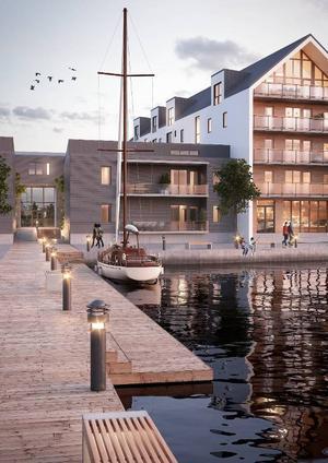 En illustration över hur det kan se ut på Storsjö strand som en av byggherrrarna presenterat. Det stämmer inte med detaljplaneförslaget utan ska visa områdets atmosfär.