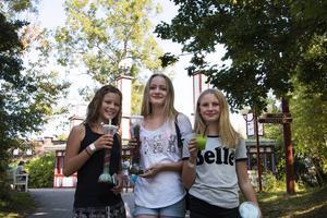 Clara Svedén, Nora Ekman och Sara Hammergård passar på att åka alla karuseller innan parken stänger för säsongen.
