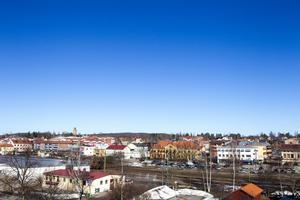 Ljusdals centrum sett från taket på Ljusdals-Posten. Arkivfoto: Robert Jonsson.
