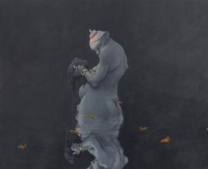 Mammons ledsagare av Michael Kvium ingår i den danska konstnärens senaste utställning som handlar om de sju dödssynderna.