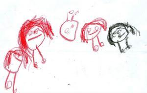 klappar. Under granen ligger klapparna och väntar, ritad av Edit Helin, 8 år.nissar. Ninette Öbrink, 5 år, har ritat de fem små tomtenissarna.