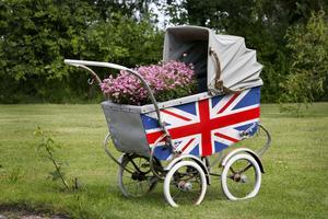 Mikael målade engelska flaggan på barnvagnen och planterade en blomma i en säck med jord i den.