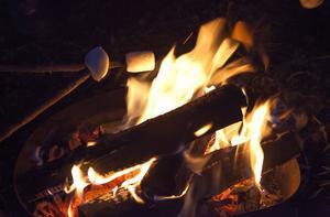 Gör upp eld på Friluftscamp i Åre Park.