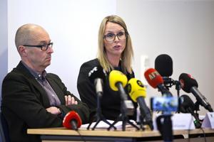 Presskonferens angående morden i Arboga. Johan Fahlander, kammaråklagare, förundersökningsledare och Jessica Wenna, kammaråklagare.